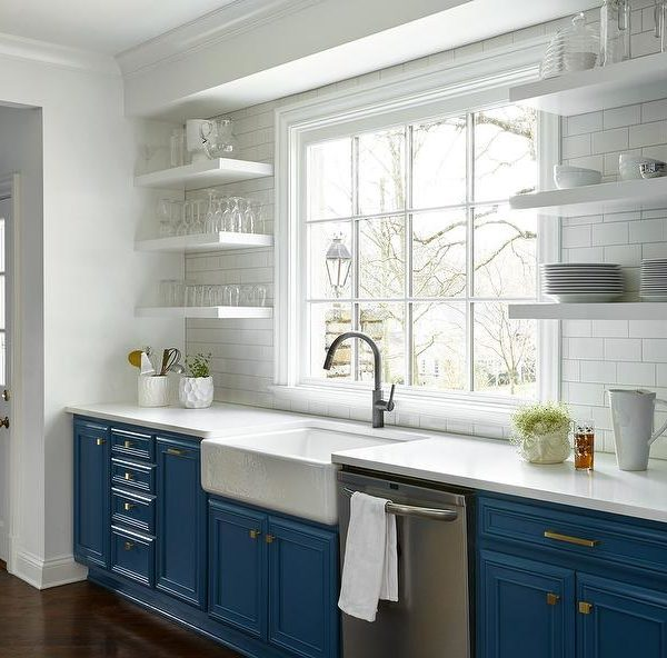 Blue Kitchen Cabinets with White Trim