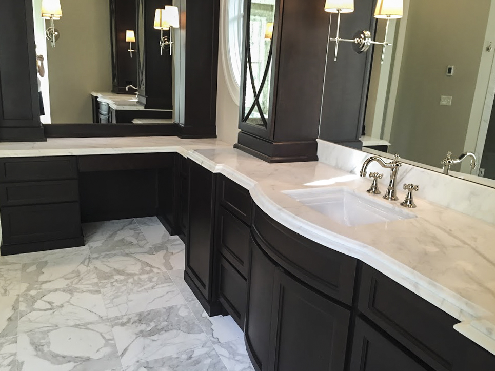 Calcutta Gold Marble Countertop With Special Beveled Edge