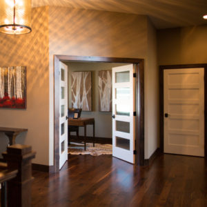 Dark Baseboard Trim White Doors