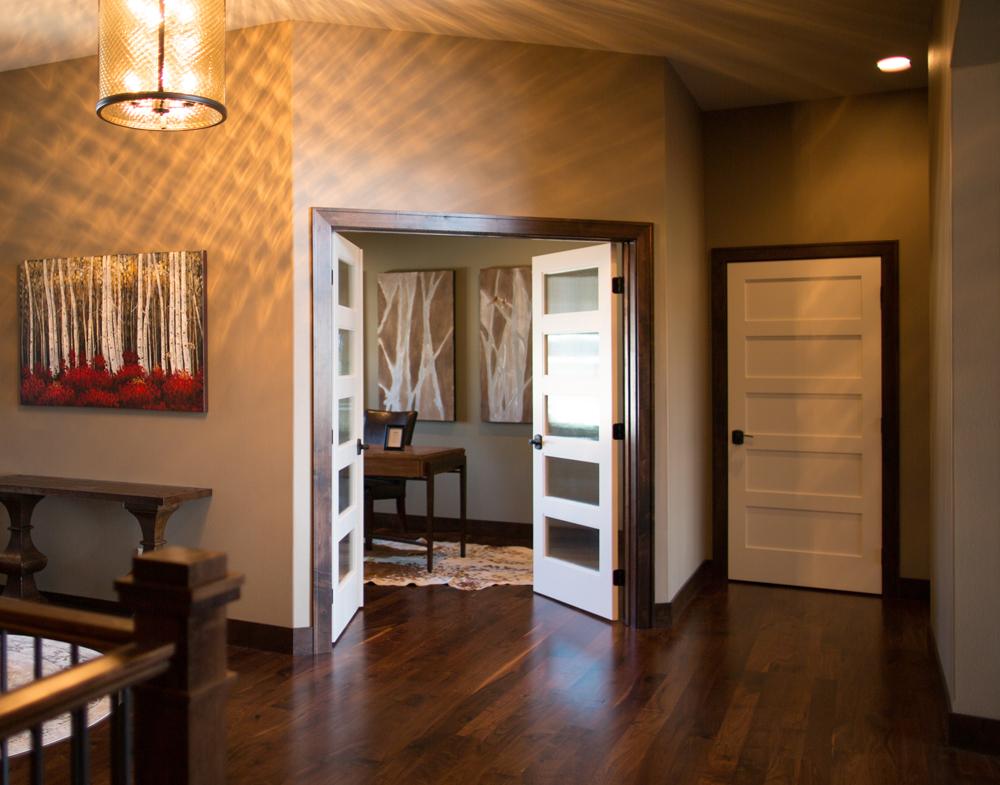 Dark Baseboard Trim White Doors