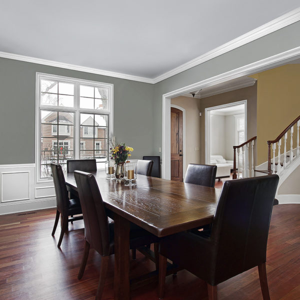 White Baseboard Wainscot Dining Room Trim