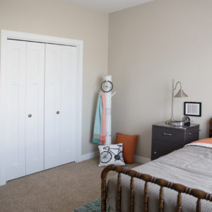 White Interior Bi-Fold Bedroom Closet Doors