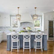 Light Blue Island with White Cabinets
