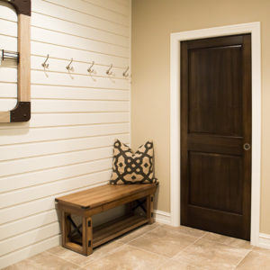 White Baseboard Trim Dark Wood Door