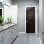 White Baseboard Trim Dark Wood Poplar Door