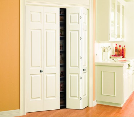 White Bi-Fold 6 Panel Bathroom Doors