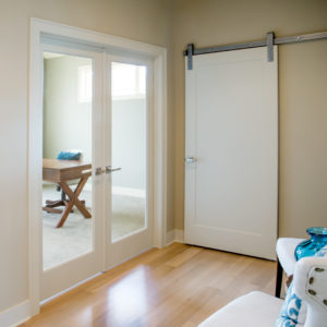 White Interior Barn Door on Silver Track