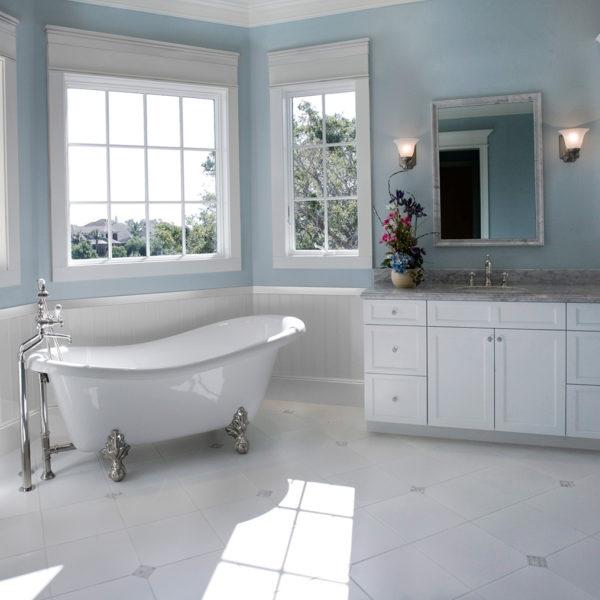 White Bathroom Window Trim Header